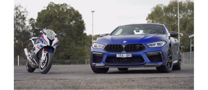 ¿Corre más una moto de Superbikes o un deportivo de más de 600 CV? La BMW S 1000 RR se enfrenta al BMW M8 Competition